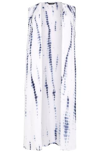 White & Blue Tie Dye Longline Sleeveless Kimono With Crochet Trim