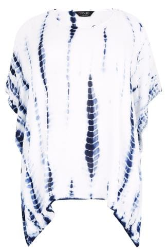 Day White & Blue Tie Dye Oversized Cape Top With Crochet Trim 156144