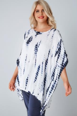 Day Tops White & Blue Tie Dye Oversized Cape Top With Crochet Trim 156144