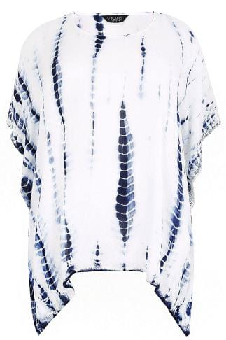 White & Blue Tie Dye Oversized Cape Top With Crochet Trim