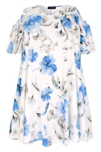 White & Blue Watercolour Floral Print Slinky Cold Shoulder Top