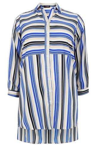 White, Blue & Yellow Striped Longline Shirt With Split Sides and Dipped Hem