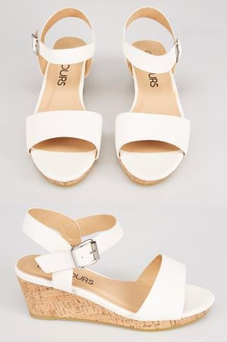 White COMFORT INSOLE High Cork Wedge Sandal In EEE Fit