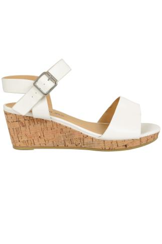 White COMFORT INSOLE High Cork Wedge Sandal In EEE Fit 056435