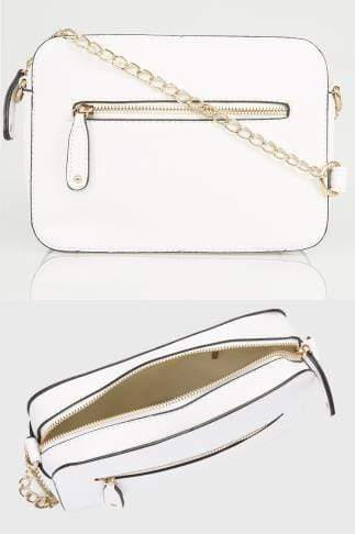 Across-The-Body White Camera Bag With Cross Body Chain 152438