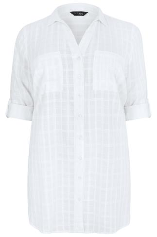 White Checked Longline Shirt With Waist Tie