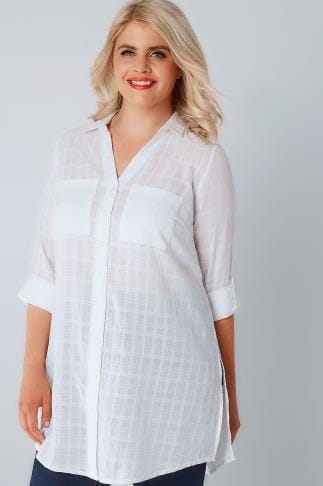 Shirts White Checked Longline Shirt With Waist Tie 130032