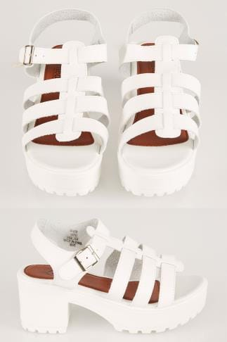 Wide Fit Wedges White Cleated Platform Gladiator Sandals In E Fit 056752