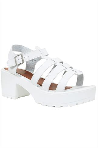 White Cleated Platform Gladiator Sandals In E Fit 056752