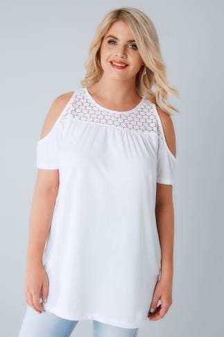 Jersey Tops White Cold Shoulder Jersey Top With Lace Yoke 132058