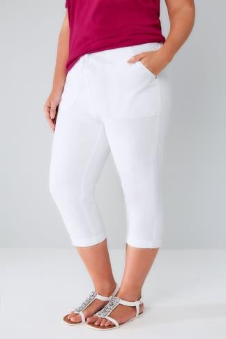 White Cool Cotton Pull On Tapered Cropped Trousers 144003