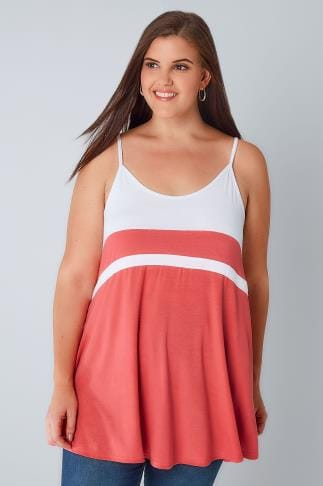 Vests & Camis White & Coral Colour Block Cami Top 132369