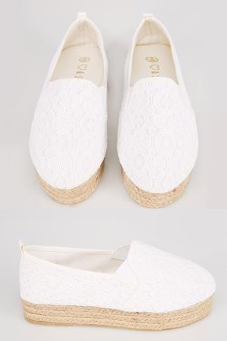 Wide Fit Wedges White Crochet Flatform Espadrille In E Fit 057225