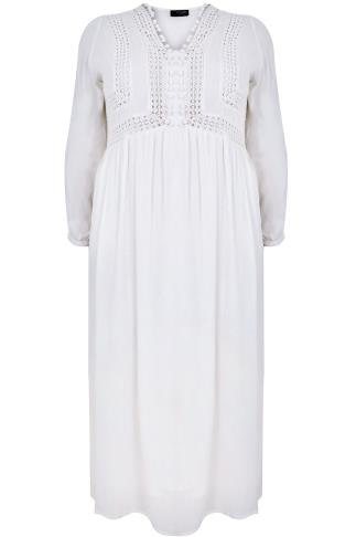 White Crochet Long Sleeve Maxi Dress With Pom Pom Detail