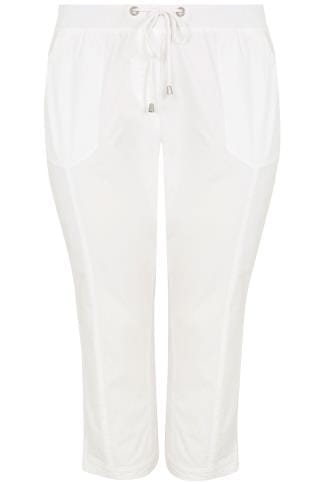 Capri Hosen White Cropped Cotton Trousers With Ribbed Waistband 170309