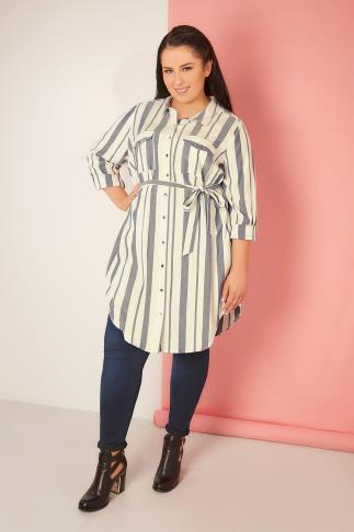 White & Denim Blue Stripe Button-Up Tunic Shirt Dress With Tie Waist