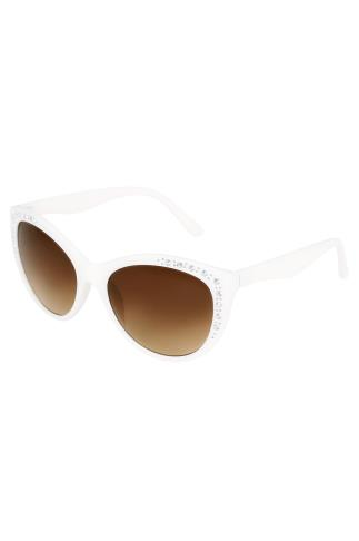 Sunglasses White Diamante Embellished Sunglasses With UV 400 Protection 152205