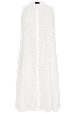 White Diamond Textured Maxi Length Button Down Sleeveless Shirt