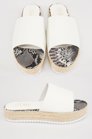 White Flatform Espadrille Sliders In E Fit