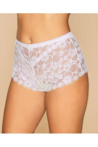 Briefs & Knickers White Floral All Lace Short 014406