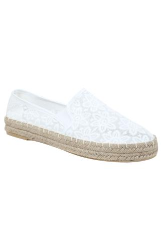 White Floral Crochet Espadrilles In E Fit