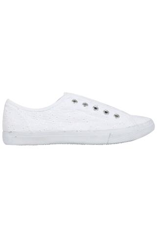 White Floral Embroidered Slip On Canvas Laceless Plimsolls In EEE Fit