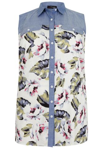 White Floral & Leaf Print Sleeveless Shirt With Chambray Yoke Panel