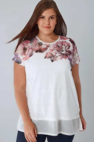 Casual Oberteil White Floral Print Longline Top With A Chiffon Hem 132419