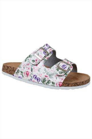 White & Floral Print Two Strap Cork Effect Platform Sandals In A EEE Fit