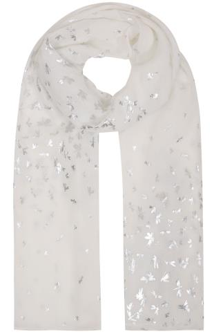 White Foil Print Dragonfly Scarf 152051
