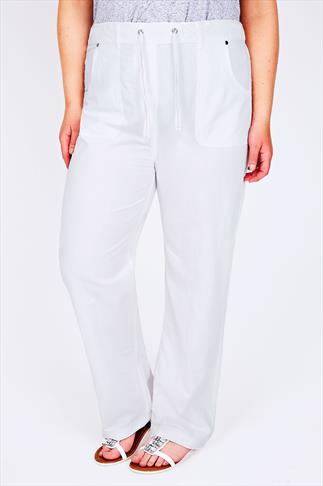White Full Length Cool Cotton Trousers 30""