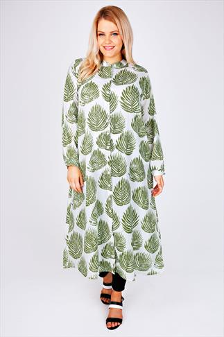 White & Green Leaf Print Maxi Shirt