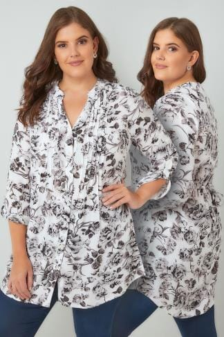 Blouses & Shirts White & Grey Floral Pintuck Longline Blouse With Sequin Detail 130176