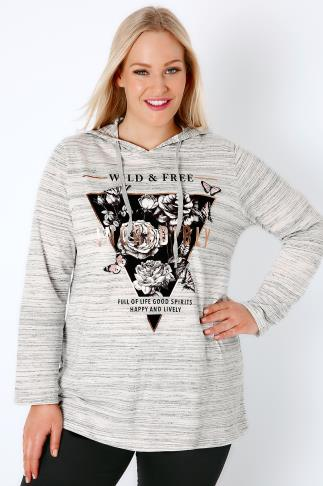 "White & Grey ""Wild & Free"" Foil Print Hooded Jumper 132122"
