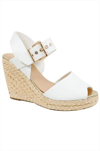 White High Wedge Espadrille Sandal In EEE Fit