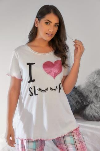 Pyjama Separates White 'I Love Sleep' Glittery Heart Print Pyjama Top With Frill Edges 148141