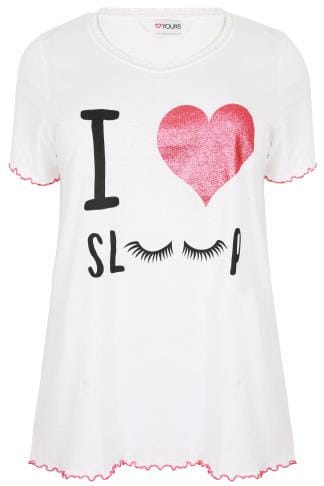 "Pyjama Separates White ""I Love Sleep"" Glittery Heart Print Pyjama Top With Frill Edges 148141"