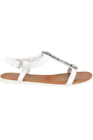 White Jewel Trim E Fit Sandal With Cleated Sole 057201