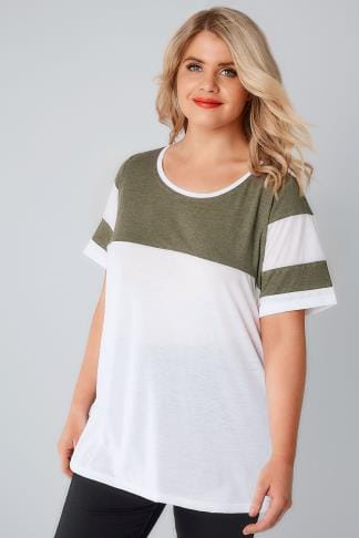 Jersey Tops White & Khaki Green Colour Block Baseball T-Shirt 132075