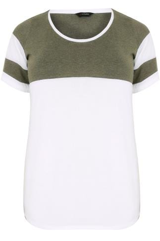 White & Khaki Green Colour Block Baseball T-Shirt