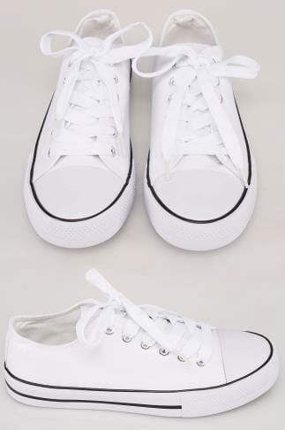 Wide Fit Trainers White Lace Up Canvas Plimsoll With Contrast Edge In True EEE Fit 154015