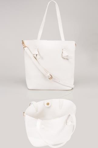 Bags & Purses White Leather Look Shopper Bag With Knot Trim 152078