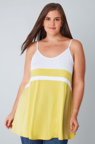 Vests & Camis White & Lemon Yellow Colour Block Cami Top 132367