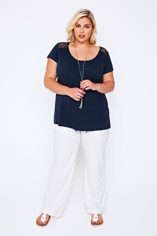 White Linen Mix Full Length Trousers With Four Pockets 055733