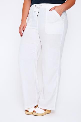 White Linen Mix Full Length Trousers With Four Pockets 32""