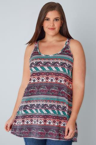 Jersey Tops White & Multi Aztec Print Swing Vest Top 132190