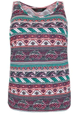 White & Multi Aztec Print Swing Vest Top
