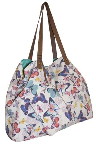 Shopper & Tote Bags White & Multi Butterfly Print Large Shopper Bag With Detachable Purse 152417