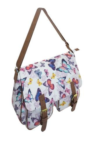 Shoulder Bags White & Multi Butterfly Print Shoulder Satchel 152415