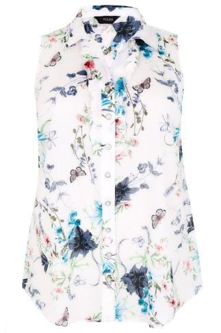 White & Multi Floral & Butterfly Print Sleeveless Blouse With Frill Panel
